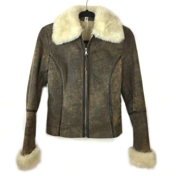Express Jackets & Blazers - Express Leather Bomber Jacket w/ Faux Fur Lining